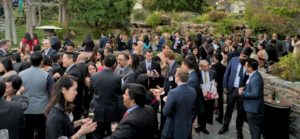 Attorneys gathered at outdoor event reception in Los Angeles