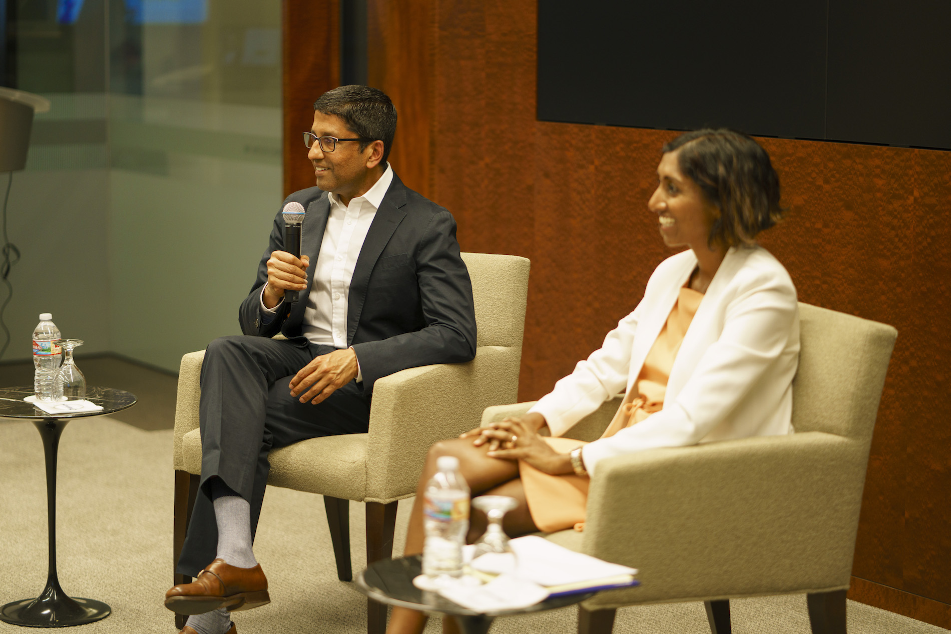 Judge Sri Srinivasan and moderator Kalpana Srinivasan on April 18, 2019, presented by SABA-SC
