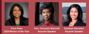 SABA-SC 2019 Mentorship Reception Honorees: Purvi Patel, Hon. Consuela Marshall, Sandhya Ramadas