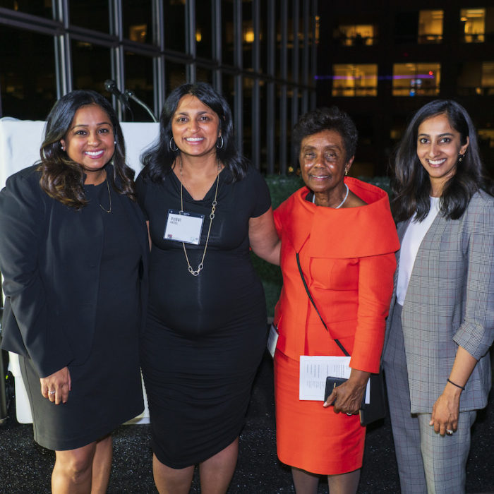 Janani Rana; Mentor of the Year 2019 Purvi Patel; Hon. Consuelo B. Marshall; and Shilpa Coorg at SABA-SC's Annual Mentorship Reception, held October 22, 2019