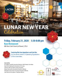 SABA-SC is co-sponsoring a Lunar New Year Celebration on February 21 from 5:30 to 8:00 p.m. at Kues Restaurant, 800 West Sixth Street (at Flower), DTLA.
