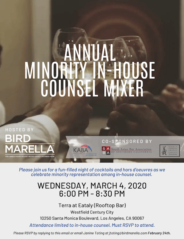 Minority In-House Counsel Mixer – March 4, 2020