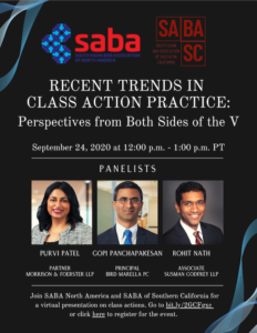 Recent Trends in Class Action Practice: Perspectives from Both Sides of the V - September 24, 2020, 12:00-1:00 PM