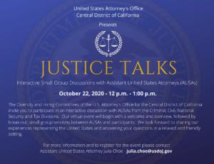 Justice Talks USAO webinar - Thursday, October 22, 2020, 12:00 - 1:00pm