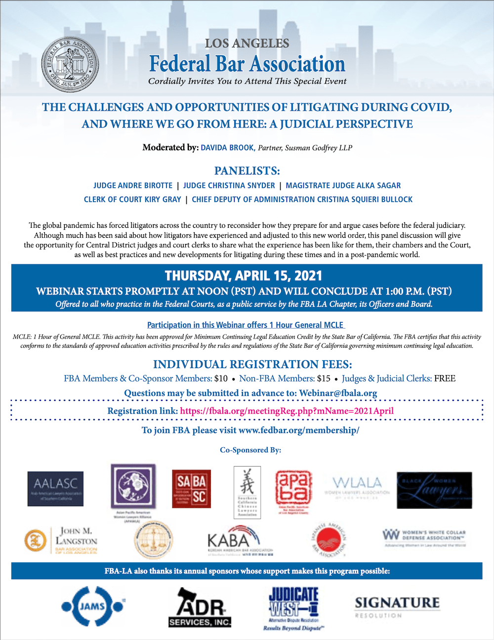 Litigating During Covid - Thursday, April 15, 2021