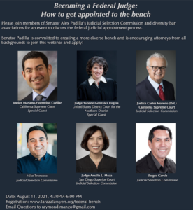 Becoming A federal Judge: How to Get Appointed to the Bench -- August 11, 2021, 4:30-6:00 PM